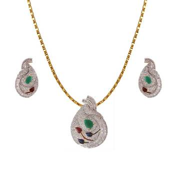 Heena Leaf design multicolour stone pendent set >> HJPN25G <<