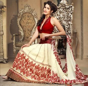 Amazing Cream Embroidered Sari