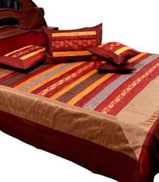 Buy Golden Maroon Silk Double Bedcover Cushion Set bed-sheet online