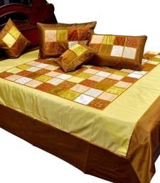 Buy Designer Golden Brown Silk Double Bedcover Set bed-sheet online