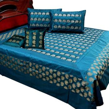 Floral Design Brocade Silk Double BedCover Set