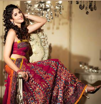 Amazing Pink Sari With Embroidery