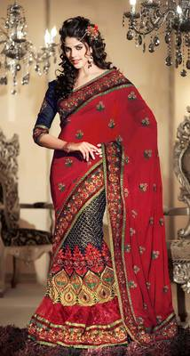 Elegant Dulhan Red Sari With Motif and Embroidery