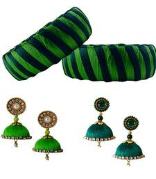 Handcrafted  Green and Dark Green Silk Thread bangles with Earrings 005