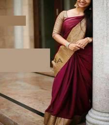 Buy maroon printed silk designer silk-sarees with blouse kerala-saree online