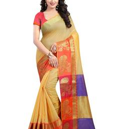 Buy Yellow woven poly cotton saree with blouse cotton-saree online