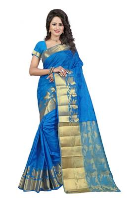 Firozi woven banarasi silk saree with blouse