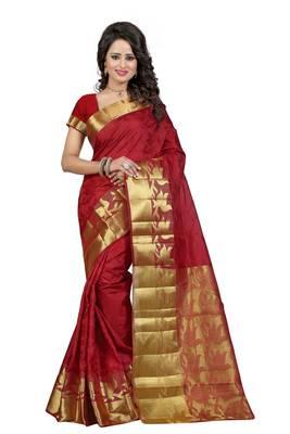 Maroon woven banarasi silk saree with blouse