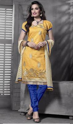 Riti Riwaz yellow chanderi dress material with dupatta
