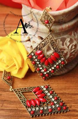 Eligant Royal Red chandelier Crystals & Gemstone earrings, Antique Ethnic Collection