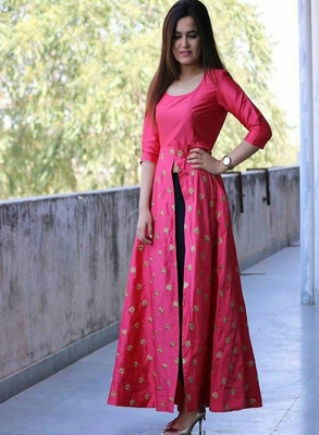 bd86d5fbe2a Pink embroidered taffeta Silk Anarkali Gown Type Salwar suit New Collection