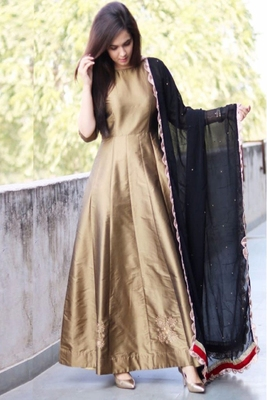 Chiku taffeta silk embroidered Anarkali Gown Type salwar suit