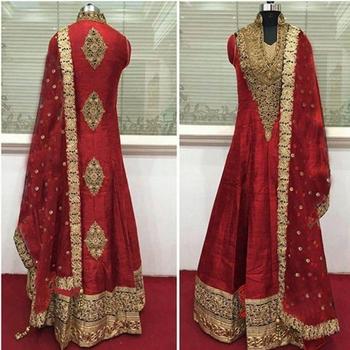 Red dupion silk embroidered Anarkali Salwar Suit with dupatta