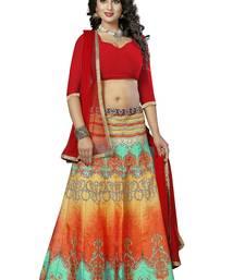 Buy Multicolor printed silk unstitched lehenga with dupatta lehenga-below-2000 online