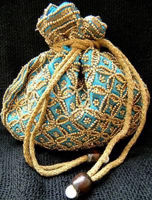 Beaded Drawstring Potli/Batwa- Turquoise