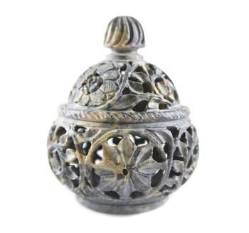 Hand craved handi shaped candle holder(Floral Design)