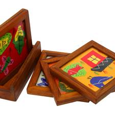 Buy Applique work four coaster set housewarming-gift online