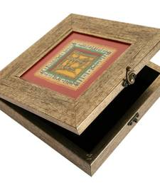 Buy Grey 11 inch square warli dhokra box housewarming-gift online