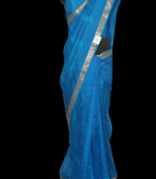 Buy Copper sulphate blue silk cotton art-silk-saree online