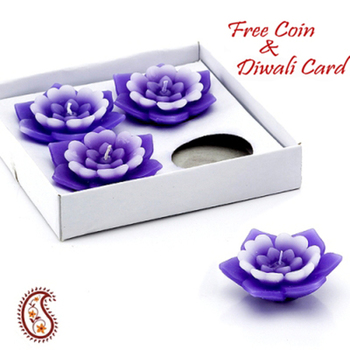 Diwali silver coin with Set of 04 Floral wax floaters