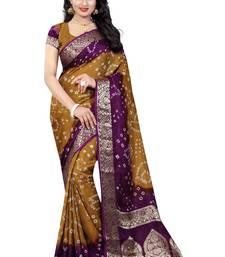 Buy Chiku hand woven art silk saree with blouse bandhani-sarees-bandhej online