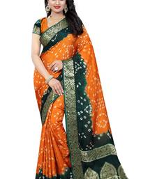 Buy Orange hand woven art silk saree with blouse bandhani-sarees-bandhej online