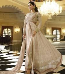 Buy Cream embroidered georgette salwar with dupatta wedding-salwar-kameez online