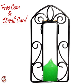 Diwali silver coin with Candle with Wrought iron candle stand