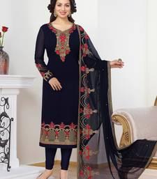 Buy Navy blue embroidered georgette salwar with dupatta bollywood-salwar-kameez-online online