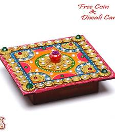 Buy Square Hand painted Decorative Wood and Clay work box housewarming-gift online