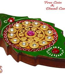 Buy Diwali decoration - Leaf Design Wood and Clay Jewelry Box  diwali-decoration online