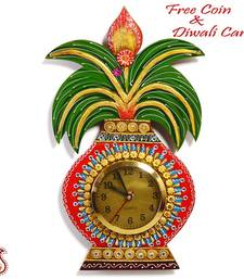Buy Kalash Wall Clock in Rajastani clay and wood craft  diwali-decoration online