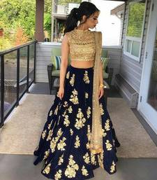 Buy Blue embroidered silk unstitched lenga with dupatta lehenga online