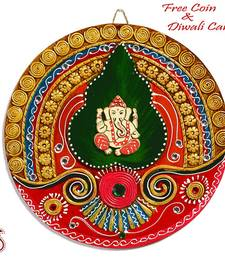 Buy Lord Ganapati Wood and Clay Art Work Wall Décor diwali-decoration online
