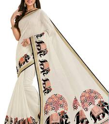 Buy White printed cotton saree with blouse great-indian-saree-festival online