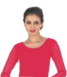 Buy Pink Cotton Lycra  stitched blouse readymade-blouse online