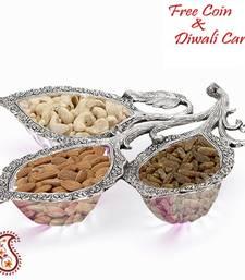 Leaf design White metal crystal dry fruit bowl set shop online