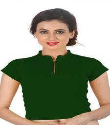 Buy Dark Green Cotton Lycra  stitched blouse readymade-blouse online