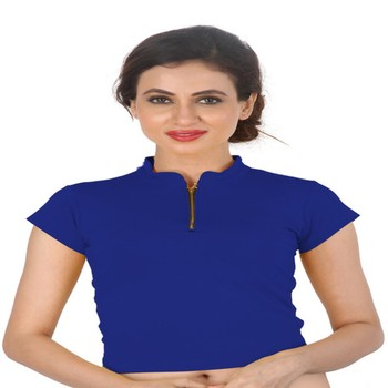 Blue Cotton Lycra  stitched blouse