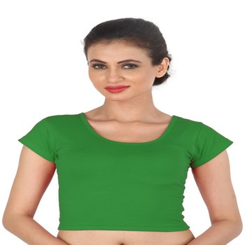 Green Cotton Lycra  stitched blouse
