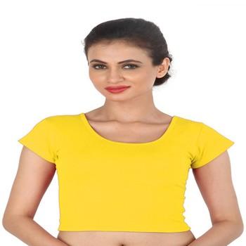 Yellow Cotton Lycra  stitched blouse