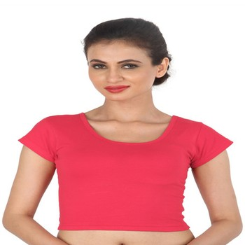 Pink Cotton Lycra  stitched blouse
