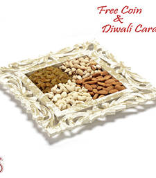 Antique Finish Wooden Tray with Dryfruits for Diwali shop online
