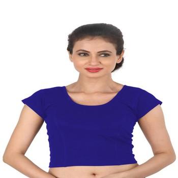 Blue Cotton Lycra  stitched blouse
