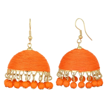 Big  silk thread fusion jhumka gift for her