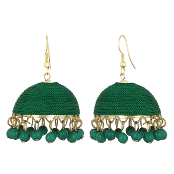Bottel Greenish Shade Silk Thread Big Jhumka