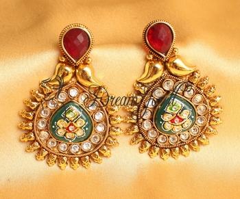 Awesome Antique Meenakari Red Green Designer Earrings