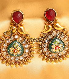 Awesome Antique Meenakari Red Green Designer Earrings