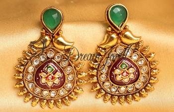 Awesome Antique Meenakari Green Maroon Designer Earrings