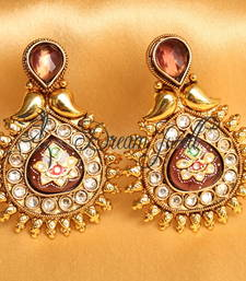 Awesome Antique Meenakari Amethyst Designer Earrings
